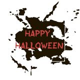 Halloween greeting card. Abctract grunge stains and splashes, ba. Ts and spiders, text Happy Halloween Vector Illustration
