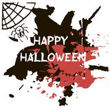 Halloween greeting card. Abctract grunge stains and splashes, ba. Ts and spiders, text Happy Halloween Royalty Free Illustration
