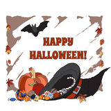 Halloween greeting card based on hand drawn. Elements with place for your text. Great for cards, party invitations, holiday design Stock Images