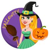 Halloween greeting card. Beautiful lady witch wearing pilgrim ha Royalty Free Stock Photography