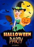 Halloween greeting card. Beautiful lady witch wearing pilgrim ha Stock Photo
