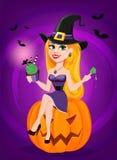 Halloween greeting card. Beautiful lady witch wearing pilgrim ha Stock Photography