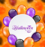 Halloween Greeting Card with Colored Balloons Stock Photos