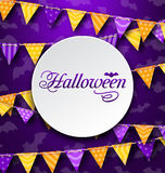 Halloween Greeting Card with Colored Bunting Stock Photos