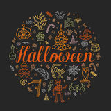 Halloween greeting card. Colorful postcard on grey background. Hand drawn halloween icons and symbol: castle, jack-o, pumpkin, corpse, skeleton, trick-or-treat Royalty Free Stock Image