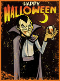 Halloween greeting card with dracula Royalty Free Stock Image