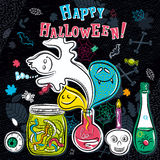 Halloween greeting card with ghost, bottle, jar, skull, eye Royalty Free Stock Image