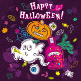 Halloween greeting card with ghost, pumpkin, eye, net Stock Photo