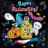 Halloween greeting card with ghost, pumpkin, skull, eye, bat Stock Photography