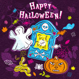 Halloween greeting card with ghost, pumpkin, tombstone, net Royalty Free Stock Image
