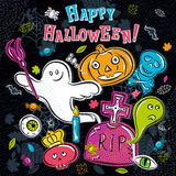 Halloween greeting card with ghost, tombstone, pumpkin, skull Royalty Free Stock Images