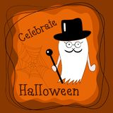 Cute Halloween ghost gentleman in top hat with walking stick royalty free illustration