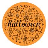 Halloween greeting card hand drawn on orange background. Halloween greeting card on orange background. Hand drawn halloween icons and symbol: castle, jack-o Royalty Free Stock Images