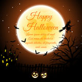 Halloween Greeting Card. Happy Halloween Greeting Card. Elegant Design With Castle, Bats, Owl, Fency, Tree, Moon and Pumpkin  Over Orange Background. Vector Stock Photography