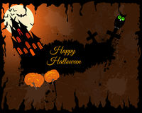 Halloween Greeting Card. Happy Halloween Greeting Card. Elegant Design With Castle, Bats, Owl, Grave and Cemetery, Tree Over Grunge Orange Background With Ink Royalty Free Stock Image
