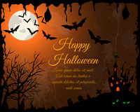 Halloween Greeting Card. Happy Halloween Greeting Card. Elegant Design With Castle, Bats, Owl, Grave and Cemetery, Tree Over Grunge Orange Background With Ink Royalty Free Stock Photos