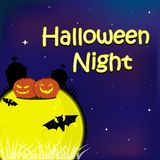 Halloween greeting card have moon, pumpkins, grave stone, and bat on night sky. Halloween theme on background Vector Illustration