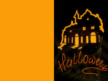 Halloween - greeting card, a holiday with cobwebs. Halloween - a holiday card with psevdouzhasnymi elements in black and orange color Stock Image
