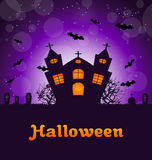 Halloween Greeting Card. Illustration Halloween Greeting Card with Castle, Bats, Cemetery. Advertising Flyer for Party - Vector Stock Images