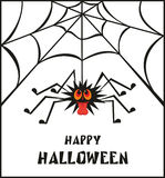 Halloween greeting card. With the image of the perky spider Stock Photo