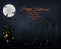 Halloween Greeting Card. Halloween Greeting (Invitation)  Card. Elegant Design With Castle in Fir Forest, Flying Bats, Moon and Cemetery With Ghosts  Over Grunge Stock Image