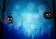 Halloween greeting card, invitation with spooky glowing pumpkins, dark forest and flying bats. Night horror scene royalty free illustration