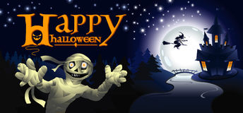 Halloween greeting card with mummy Royalty Free Stock Photos