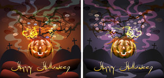 The pumpkin on a tree. Halloween greeting card with pumpkin with candle inside on the tree against flying small smiling pumpkin ghosts Royalty Free Stock Image