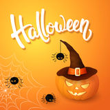 Halloween greeting card with pumpkin wearing hat, angry spiders, web and 3d brush lettering on orange background. Decoration for poster, banner, flyer design Royalty Free Stock Photos