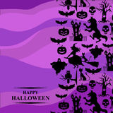 Halloween greeting card on purple background Royalty Free Stock Photography