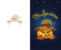 Halloween greeting card with scary pumpkin wearing hat Stock Photos