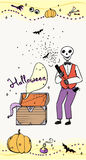 Halloween greeting card with skeleton.  Stock Image