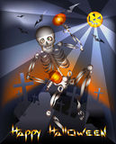The dancing skeleton. Halloween greeting card with skeleton dancing with maracas on a graveyard against flying bats royalty free illustration