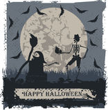 Halloween greeting card with skeleton and skull Royalty Free Stock Image
