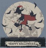 Halloween greeting card with stylish flying witch Stock Image