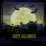 Halloween greeting card. Vector greeting card for halloween with full moon Royalty Free Stock Image