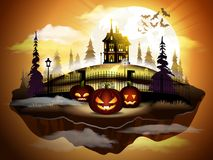 Halloween greeting card, vector illustration. Pumpkins in graveyard and dark castle on sunset sky background Stock Photos