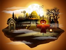 Halloween greeting card, vector illustration. scarecrow in graveyard. And dark castle on sunset sky background Royalty Free Stock Image