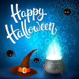 Halloween greeting card with witch cauldron, hat, angry spiders, net and brush lettering on blue background with bubbles Stock Images