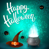 Halloween greeting card with witch cauldron, hat, angry spiders, net and brush lettering on cyan background with bubbles Royalty Free Stock Image