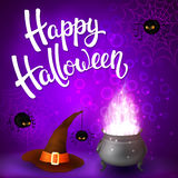 Halloween greeting card with witch cauldron, hat, angry spiders, net and brush lettering on purple background with Royalty Free Stock Photo