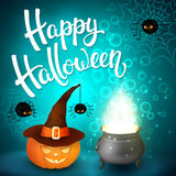 Halloween greeting card with witch cauldron, hat, pumpkin, angry spiders, net and brush lettering on blue background with bubbles. Decoration for poster Stock Images
