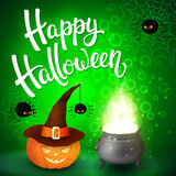 Halloween greeting card with witch cauldron, hat, pumpkin, angry spiders, net and brush lettering on green background Stock Photography
