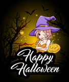 Halloween greeting card with witch Stock Images
