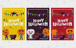 Halloween greeting cards. Set of banner in a flat style. Man with a pumpkin head vector flat illustration. festive ribbon. Funny h. Alloween personage. Templates Stock Photo