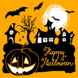 Halloween greeting with houses, pumpkin and bats Royalty Free Stock Images