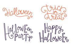 Halloween greeting lettering. Season vector holiday design of phrases. Vector Handwritten text. Calligraphy collection. Royalty Free Stock Photos
