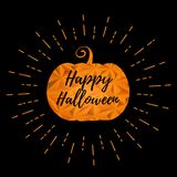 Halloween pumpkin with greeting text illustration royalty free stock images