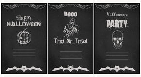 Halloween greeting vector cards set. Grunge chalkboard style. Halloween greeting vector cards. Vector illustration. Template for party card Royalty Free Stock Photography