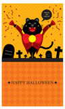 Halloween greetings with black cat Stock Photo